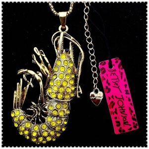 Herb Yellow Crystal Shrimp Betsey Johnson Necklace